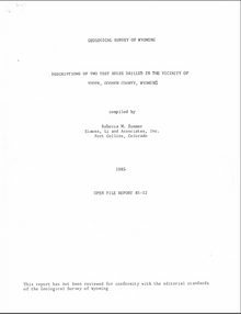 Descriptions of Two Test Holes Drilled in the Vicinity of Yoder, Goshen County, Wyoming (1985)