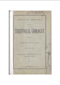 Annual Report to the Governor of Wyoming (1890)