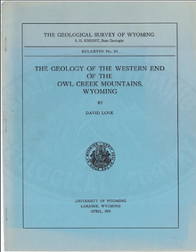 The Geology of the Western End of the Owl Creek Mountains, Wyoming (1934)