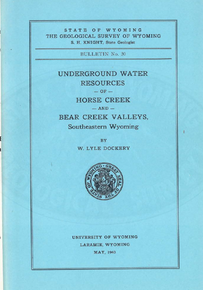 Underground Water Resources of Horse Creek and Bear Creek Valleys, Southeastern Wyoming (1940)