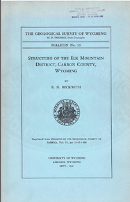 Structure of the Elk Mountain District, Carbon County, Wyoming (1941)