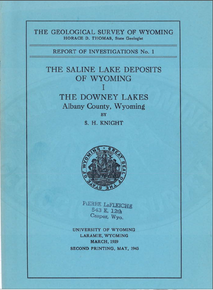 Saline Lake Deposits of Wyoming: The Downey Lakes, Albany County, Wyoming (1943)