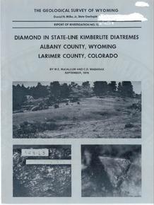 Diamond in State-Line Kimberlite Diatremes, Albany County, Wyoming, Larimer County, Colorado (1976)