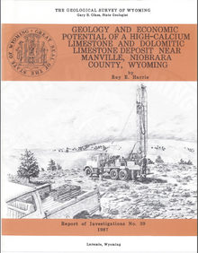 Geology and Economic Potential of a High Calcium Limestone and Dolomitic Limestone Deposit near Manville, Niobrara County, Wyoming (1987)