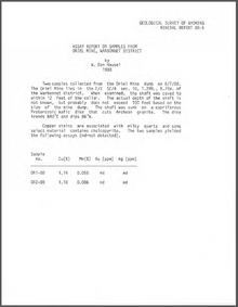 Assay Report on Samples from Oriel Mine, Warbonnet District (1988)