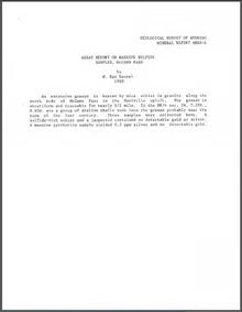 Assay Report on Massive Sulfide Samples, McCann Pass (1988)