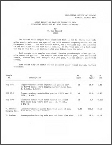 Assay Report on Samples Collected from Purgatory Gulch and at Some other Locations (1988)