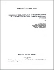 Preliminary Geological Map of the Rattlesnake Hills Supracrustal Belt, Granite Mountains, Wyoming (1994)