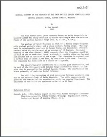 General Summary of the Geology of the Twin Buttes (Baldy Mountain) Area, Central Laramie Range, Albany County, Wyoming (1983)