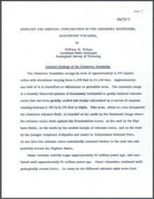 Geology and Mineral Exploration in the Absaroka Mountains, Northwest Wyoming (1970)