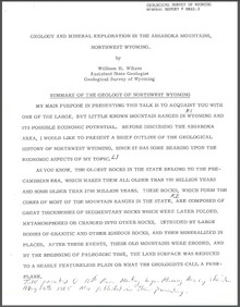 Geology and Mineral Exploration in the Absaroka Mountains, Northwest Wyoming (1965)