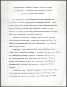 Underground Storage of Petroleum in Wyoming (1954)