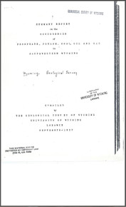 Summary Report on the Occurences of Phosphate, Potash, Coal, Oil and Gas in Southwestern Wyoming (1937)