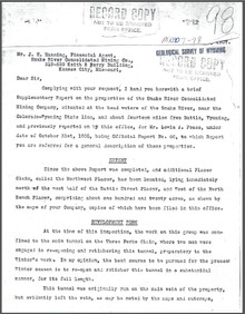 A Brief Supplementary Report on Properties of Snake River Consolidated Mining Company near Battle, Wyoming (1907)