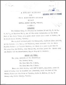 A Brief Report on the Century Group near Battle, Carbon County, Wyoming (1907)