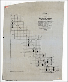 Map of the Southwestern Portion of the Shoshone Indian Reservation Showing the Outcrop of the Phosphoria Formation, the Thickness and Tricalcium Phosphate Content of the Phosphate Beds at Various Localities (no date)