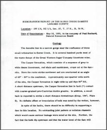 Memorandum Report on the Horse Creek Damsite, Laramie County (1955)