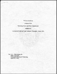 Memorandum Prepared for Wyoming Game and Fish Department Relative to a Proposed Well in West Laramie Townsite—Block 120 (1969)