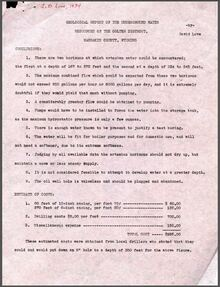 Geological Report of the Underground Water Resources of the Colter District, Washakie County, Wyoming (1934)