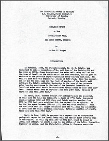 Geologic Report on the Lovell Water Well, Big Horn County, Wyoming (1936?)