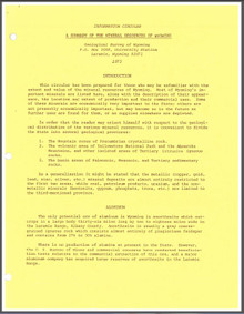 A Summary of the Mineral Resources of Wyoming (1975)
