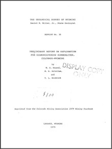 Preliminary Report on Exploration for Diamondiferous Kimberlites, Colorado-Wyoming (1979)