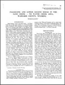 Paleocene and Lower Eocene Rocks in the Sand Creek-No Water Creek Area, Washakie County, Wyoming (1975)