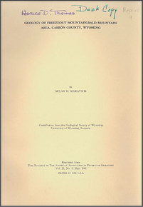 Geology of the Freezeout Mountain-Bald Mountain Area, Carbon County, Wyoming (1941)