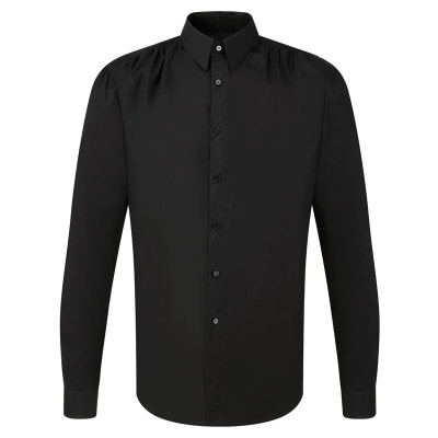 Point Collar Shirred - Blk