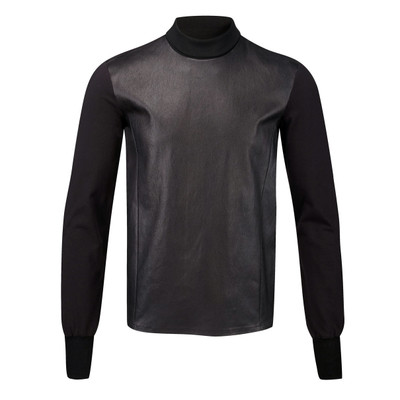 Wool Contrast Leather Sweater
