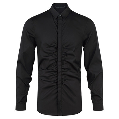 Shirring Tailored Shirt, Blk