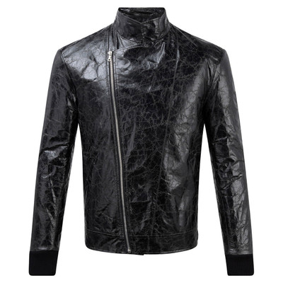 Distressed Leather Biker Jacket, Blk