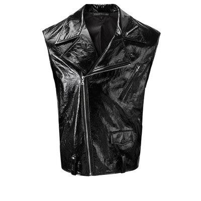 Polished Leather Biker Vest