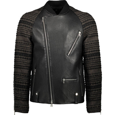 Knit Raglan Leather, Biker Jacket