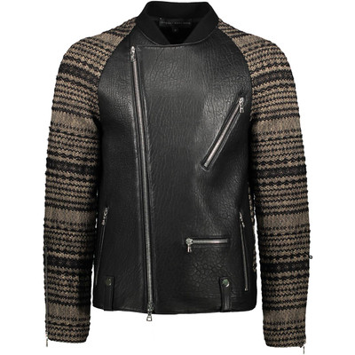 Knit, Raglan Leather Biker Jacket