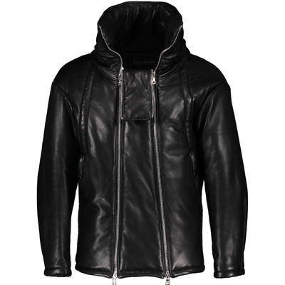 Funnel Neck  Padded Leather Jacket