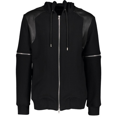 Cotton & Leather Trimmed Hoodie