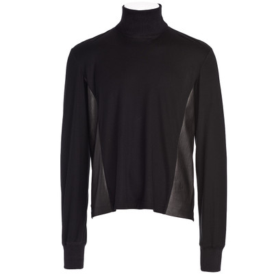 Contrast Leather Wool Sweater