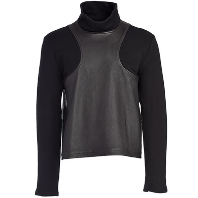 Leather Blocked Sweatshirt Turtleneck