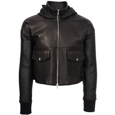 Hooded Leather Varsity Jacket