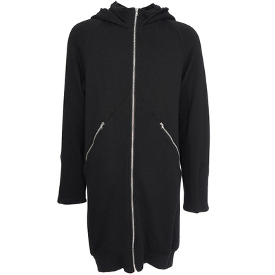 Elongated Mock Neck Hoodie, Black