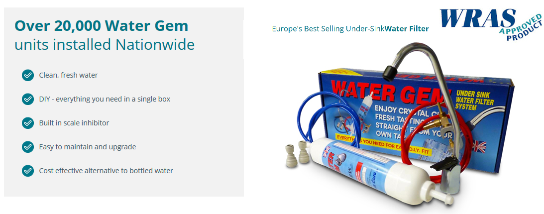 Our Water Gem system is Europe's best selling under-sink water filter system.