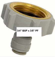 "Water Pipe Adaptor 3/4"" Female x 3/8"" Push-fit for Plastic Tubing"