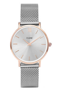 Cluse Minuit Mesh Rose Gold/ Silver Watch CL30025