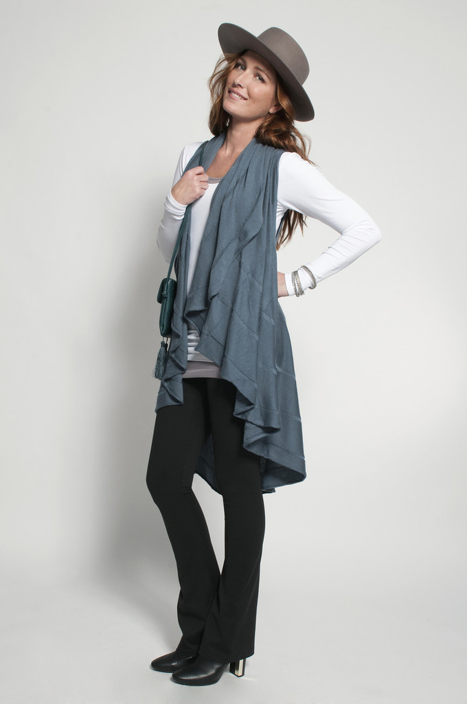 Black Bootcut (shown with Layering Tank Top in Gray, Layering Long Sleeve Top in White & Long Vest in Stormy Weather)