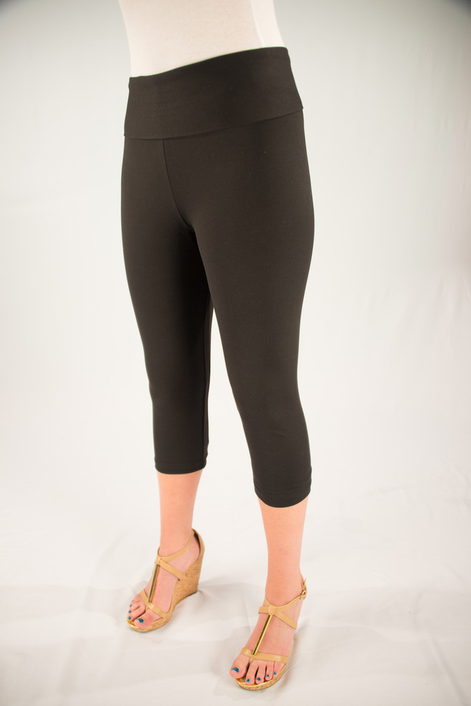 Body Shaper Capris Front View: Black