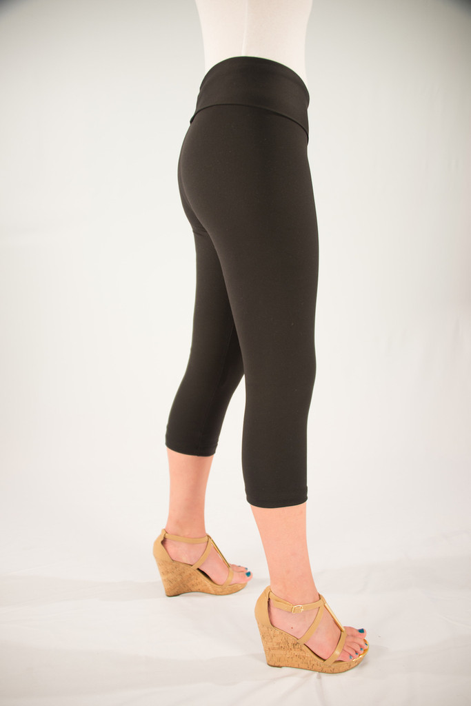 Body Shaper Capris Side View: Black