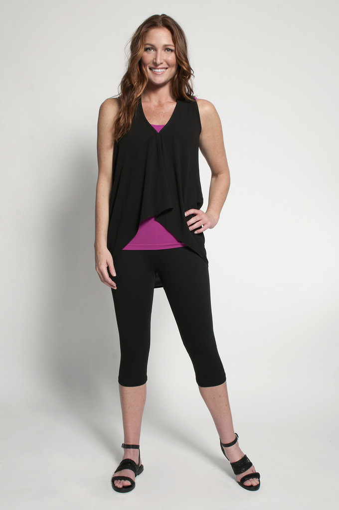 Black Capris (shown with Layering Tank Top in Fuchsia & Fancy Tank in Black)