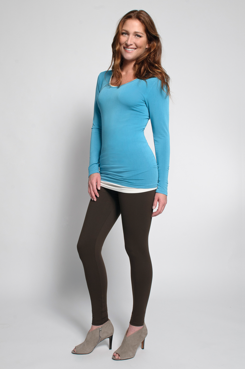 Brown Leggings (shown with Layering Tank Top in Ivory & Layering Long Sleeve Top in Turquoise)