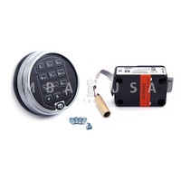 S&G 6120 SPRING BOLT LOCK W/ 2 BATTERY SATIN CHROME KEYPAD